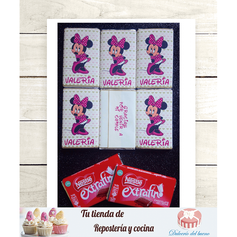 Imprimible Editable Diseño chocolatinas  Minnie Mouse