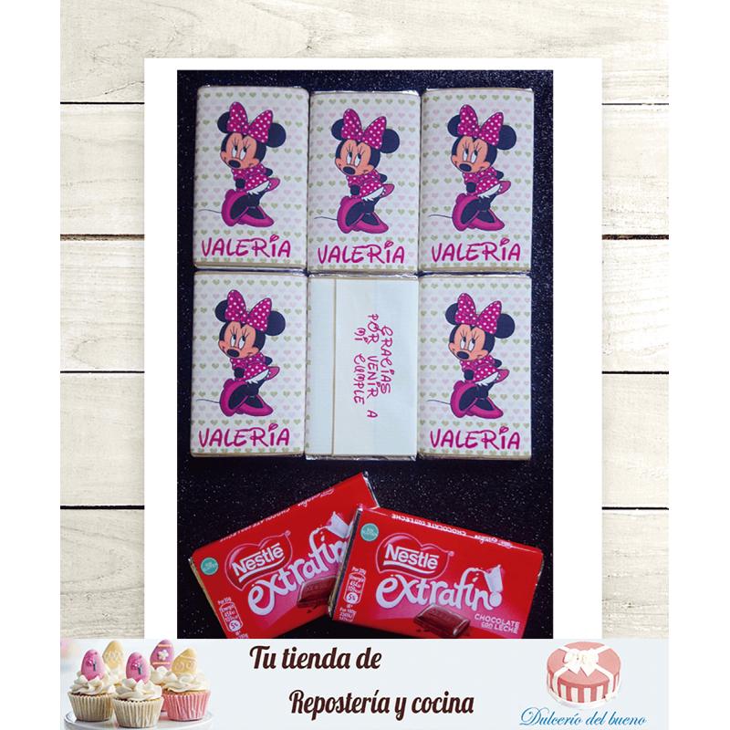 Imprimible Editable Diseño chocolatinas  Minnie Mouse
