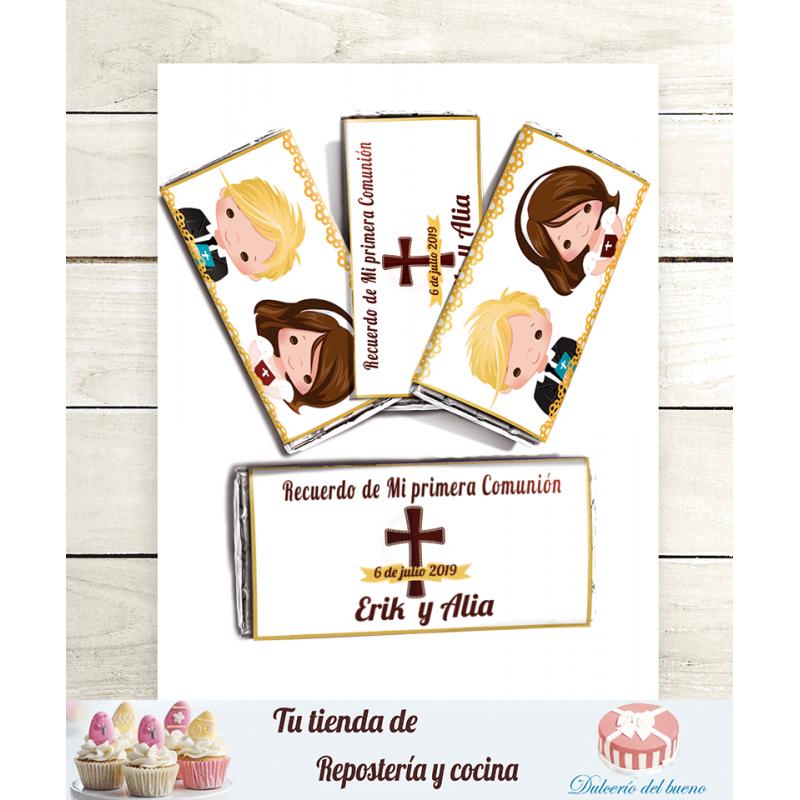 Imprimible Editable Diseño chocolatinas Mi primera Comunión (Erik y Alia)