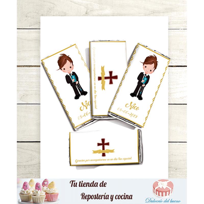 Imprimible Editable Diseño chocolatinas Mi primera Comunión