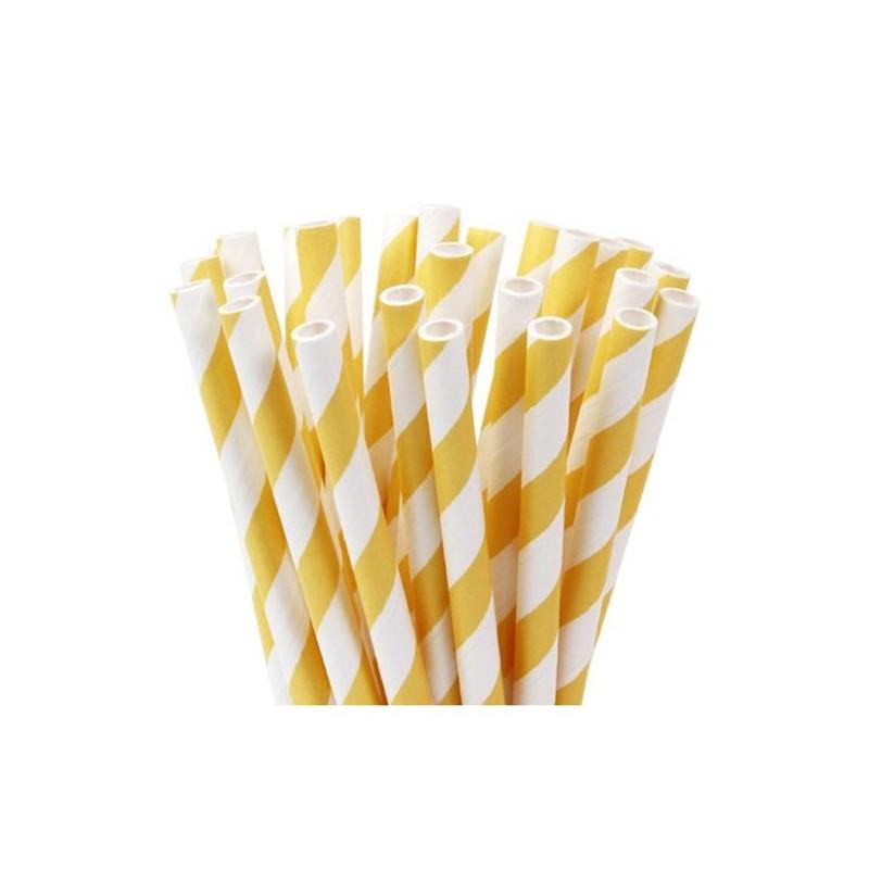 Pajitas/ palitos cake pops rayas amarillas