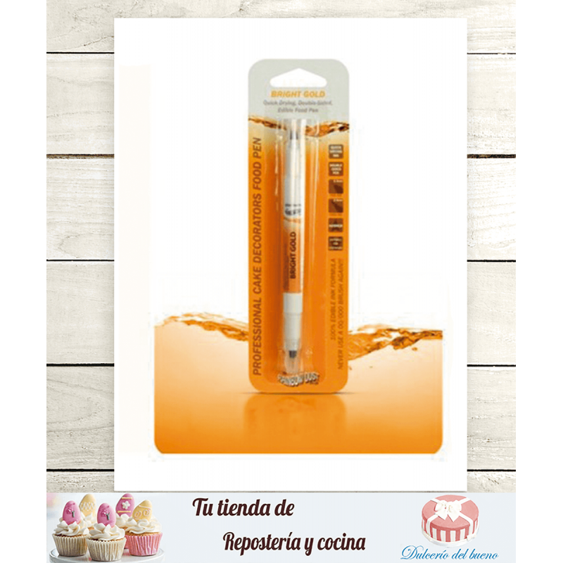 Rotulador comestible oro vivo doble punta Rainbow Dust