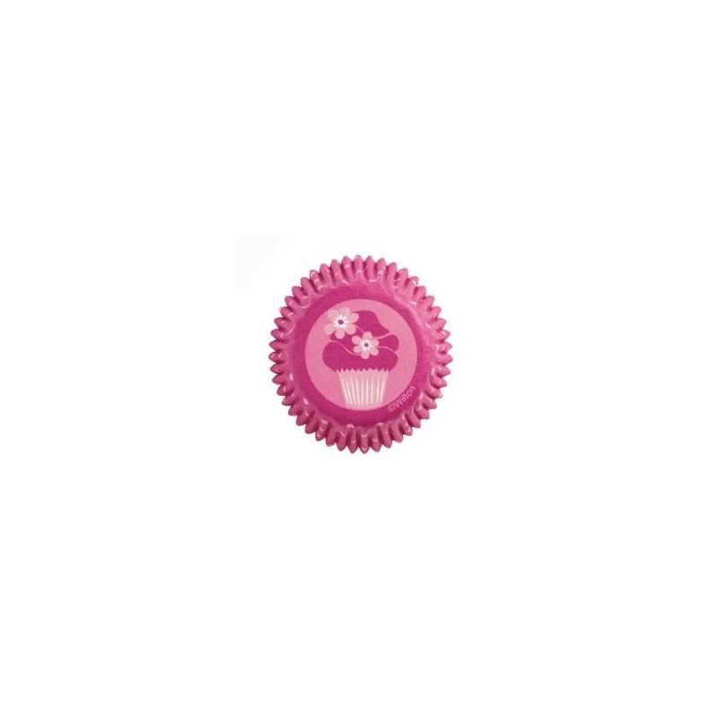 100 Mini Cápsulas de hornear fiesta rosa  wilton